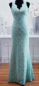 DEB | Mermaid V Neck Sweep Train Lace Evening Gown